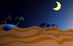 Arabian desert in the night by uAe-Designer