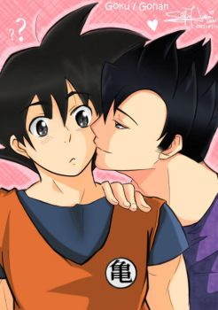 Gohan and Goku- Affectionate by Yuuram93