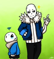 Little Sans and Teen Gaster by APEX-Knight
