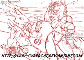 Beach Foxes Work In Progress by lady-cybercat