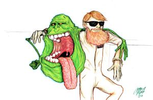 Slimer hanging out with Neal by gomezvsrufio