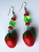 Strawberry Earrings by tishaia