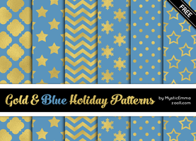 Gold And Blue Holiday Patterns by MysticEmma