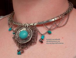 Turquoise and Silver Circular Necklace (2) by ulfchild