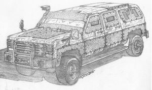 Post Apocalyptic Chevrolet Suburban by RedSpider2008