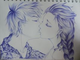Elsa and Jack Frost Kiss by OrhideArt