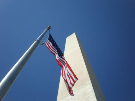 Looking Up on the US Flag and Washington Monument by Zer0II
