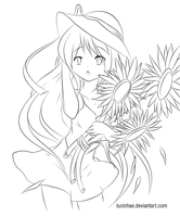 Sunflower Lineart by Lucinhae
