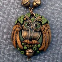 Owl Pendant Closeup by MandarinMoon