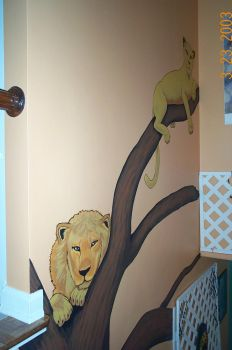Stair Lions Mural by Crazy10-9