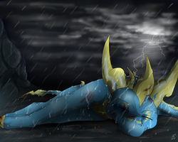 Wounded in the rain by IcelectricSpyro