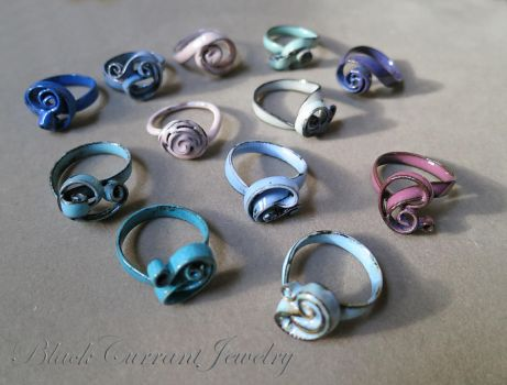 Enameled Rings I by blackcurrantjewelry