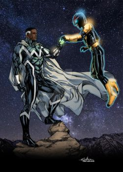 Blue Marvel and Nova colored by ginmau