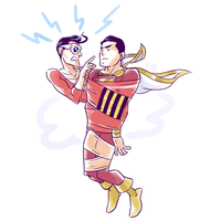 Captmarvel and Plasticman by Sii-SEN