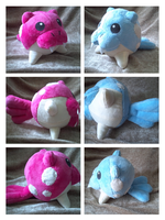 Shiny Spheal and Normal Spheal plush by LRK-Creations