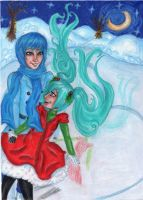 Miku and Kaito Winter Wonderland by Tin-foiL