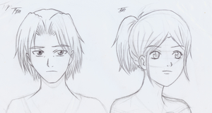 Manga Male and Female Faces by CloudRider99
