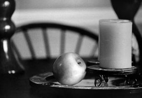 Candle and Apple Still Life by nebulae-decay
