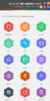 50 Flat Hexagon Icons by KL-Webmedia