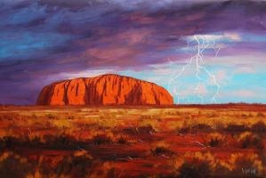 Uluru Outback Australia Painting by artsaus