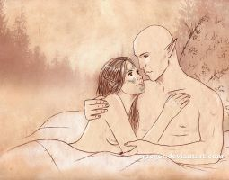 Saya Lavellan and Solas sketch comm by Agregor
