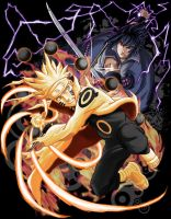Naruto VS Sasuke Ultimate Fighting T-SHIRT by RuwaLL