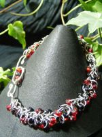 Red And Black Shaggy Loops Bracelet by BacktoEarthCreations