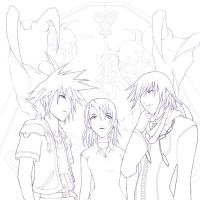Kingdom Hearts II Lineart T_T by akewataru