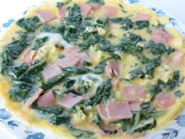 Open-Faced Ham and Swiss Chard Omelette by Kitteh-Pawz