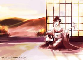 Sunset Shamisen by EverKiss