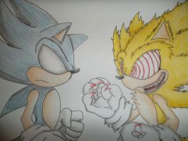 Dark VS. Fleetway Sonic by Mirah-Hedgehog09