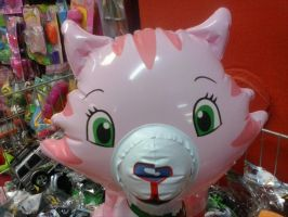 Inflatable Custard Cat Toy Close Up by PoKeMoNosterfanZG