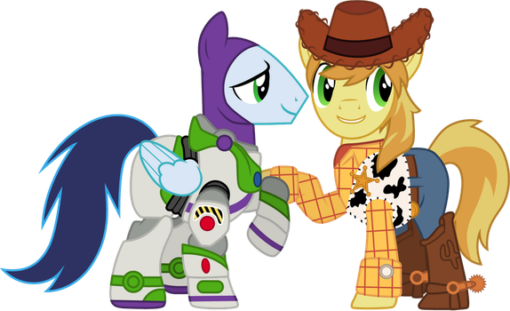 Soarin' and Braeburn as Buzz and Woody by CloudyGlow