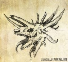 unfinished dragon skull head by dragseal