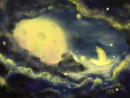 floating on the waves of the moon by Sleepwalker999