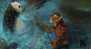 Fishing Po and Tigress by bk-kam