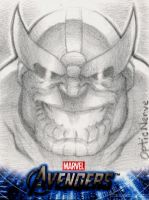 Avengers Assemble Sketchcard - Thanos by theopticnerve