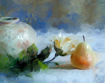 The Kiss, Rose and Pear by KathleenCasey
