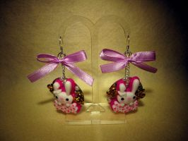 Rabbit with Gold Rose Earring by fleur-de-mirage