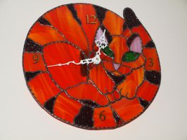 Stained Glass Cat Clock by lenslady