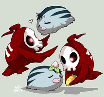 Duskull and Swinub by ZombieDaisuke