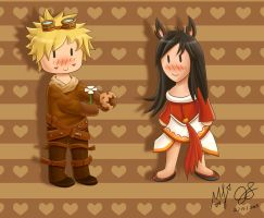 Ezreal + Ahri Valentines Day Special by oddish-enigma