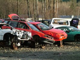 junk yard - crashed cars 2 by JensStockCollection