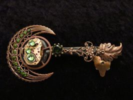 Steampunk Skeleton Key Pin ( Clockwork Moon) by CrossTheHatter