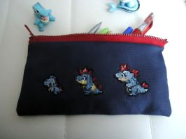 Cross stitch Totodile's family pencil bag by Miloceane