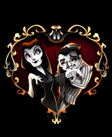 Drawlloween Number 12 (I guess) Morticia and Gomez by mi-chie
