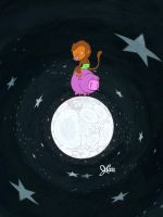 Baby monkey rides a pig backwards on the moon... by jerrycarr