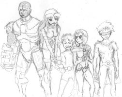 TEEN TITANS scetch by captaincoconutz