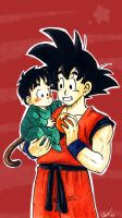 Goku and baby Gohan by camlost