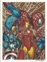 Spider-Man, Iron man, Captain America and Wolverin by SunsetRising-Art